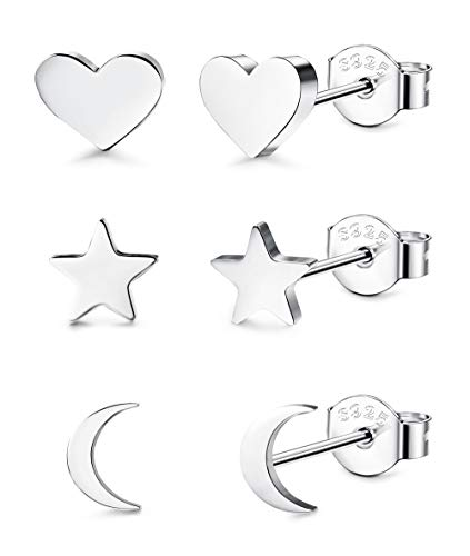 (LOYALLOOK 3 Pairs 925 Sterling Silver Stud Earrings Tiny Moon Star Heart Plain Silver Stud Earrings Set for Women)