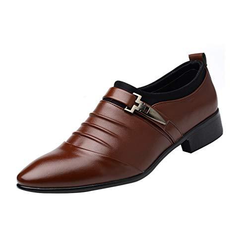 Tacón Ocasionales Holgazán Zapatos Clásico Hombre Perforada ons Marrón De Bajo Monje Puntera Negocios Slip wqS6R4aU
