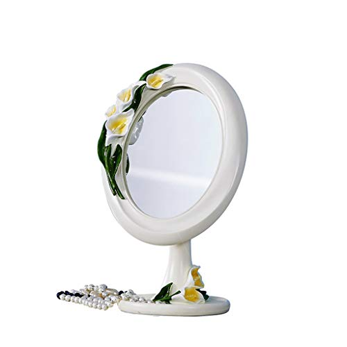 C&Q CQ European-Style Desktop Mirror Creative Simple Countertop Portable Fashion Cute Princess Dressing Mirror Carved Base Mirror