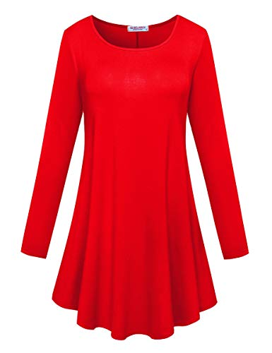 BELAROI Women's Comfort Long Sleeve Tunic Round Neck T-Shirt Casual Blouses Tops(3X,Red) ()