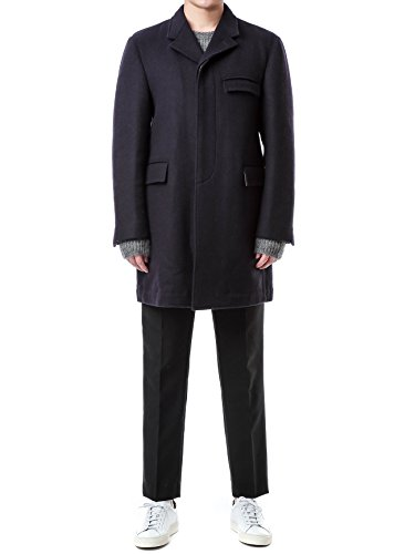 Review Wiberlux Thom Browne Men's Concealed Placket Cashmere Coat 1 Navy