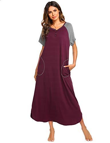 Ekouaer Women's Plus Size Long Robe Nightgown Lounge Dress (Fuchsia, X-Large)