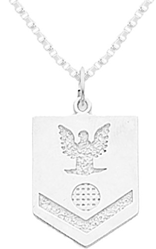 0.925 Sterling Silver US Coast Guard Petty Officer Third Class Military Pendant 2.6mm Box Chain Necklace