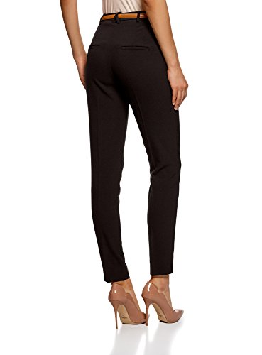 oodji Ultra Mujer Pantalones Ajustados con Cinturón en Contraste Negro (2900N)