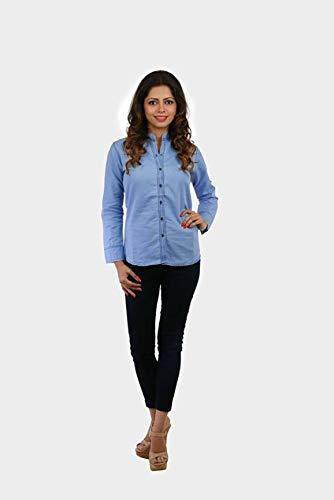 Rafflesia Tolpis Women Denim Shirt  Light Blue