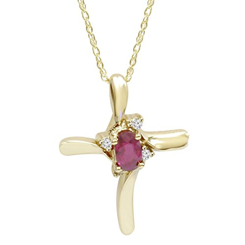1/4CT Ruby & Diamond Cross Pendant & Chain 14K Yellow Gold 3/4
