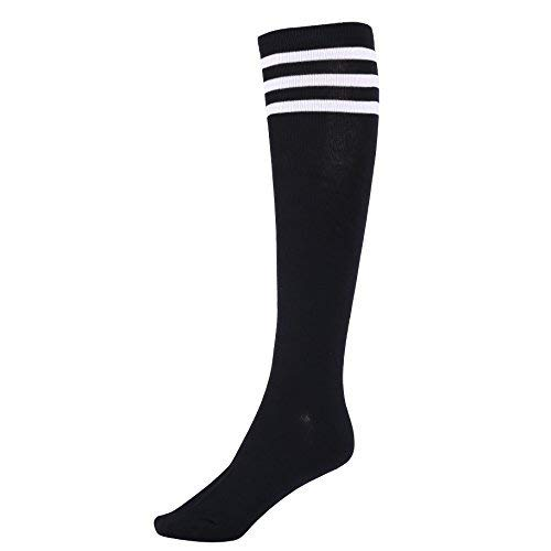 Mystylees Women's Black Knee High Striped Socks with