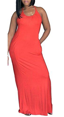 Licol Jaycargogo Sangle Femmes Couleur Soild Avec Des Poches Maxi Robe Cocktail 5