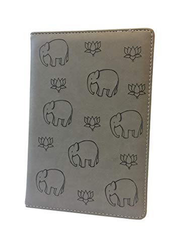 """(Gray Softcover Notebook Diary With Elephant Design - Durable, Composite Leather Journal With Extra-Thick Lined Pages - Great for Kids, 5"""" x 8"""" With 192 Pages)"""