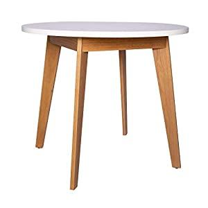 Amazon Brand – Rivet Noah Round Modern Ash Dining Table, 35.4″W, White