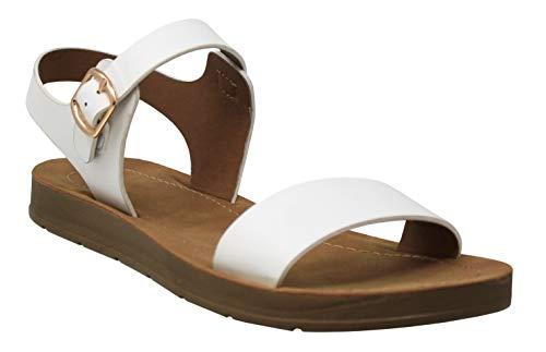 MVE Shoes Little Girl Comfortable Flat Open Toe Adjustable Sandals, White Pu 13 -