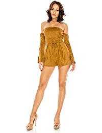 3658dcd3c881 Women s Sexy Long Bell Sleeve Off Shoulder Suede Lace Up Eyelet Belt Romper  Dress