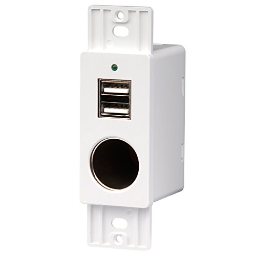 Volt Single Receptacle (RV WALL MOUNT 12V-VPA SOCKET/5V4A OUPUT DUAL USB PORT CHARGING STATION, WHITE)