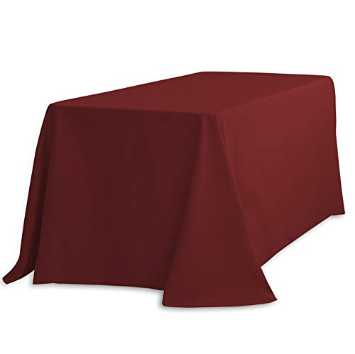 (LinenTablecloth 90 x 132-Inch Rectangular Polyester Tablecloth Burgundy)