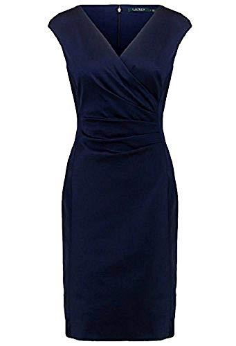 RALPH LAUREN Women's Satin Surplice Dress (Navy/Blue, 4)