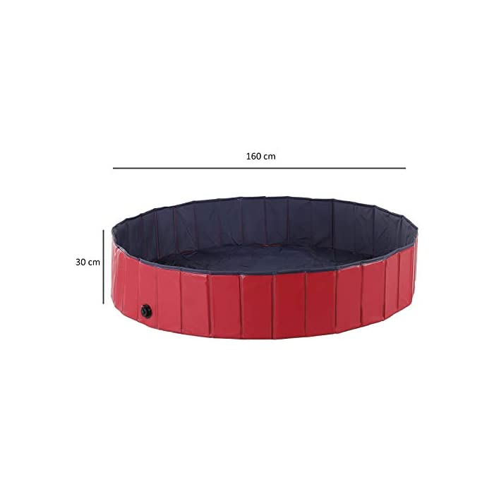 31NQrHrZ6ML Ideal para rinfrescarsi en días calientes – gracias a esta piscina el su perro se será un saco Apto para uso interior y exterior – Fabricada en material robusto y fuerte Válvula de desagüe del agua práctica para el drenaje – borde estable reforzado