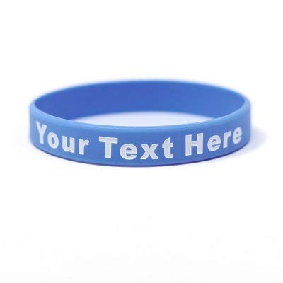 Customizable Silk Screen Printed Wristbands 100 Qty (Adult, Pearl Blue)