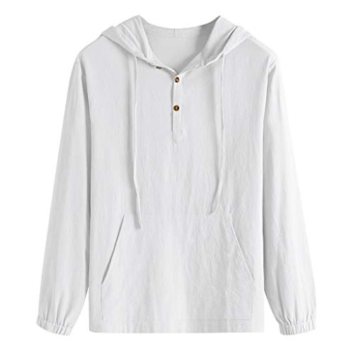 ANJUNIE Men's Hoodies Loose Cotton Blend Pullover Solid Color Hooded Button Shirt Tops Blouse Sweatshirt(White,L)