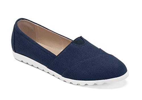 ComeShun Womens Shoes Canvas Flats Casual Loafers Comfort Slip On Sneakers (40 EU/9 US, Navy Canvas) ()