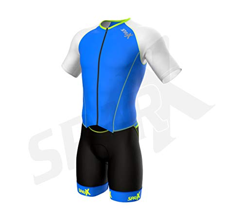 Sparx Men`s Elite Aerosuit Triathlon Suit with Sleeves | Mens Short Sleeve Aero Tri Suit | Full Front Zipper | Comfortable Grip Bands & Chamois | Swim Bike Run (Medium)