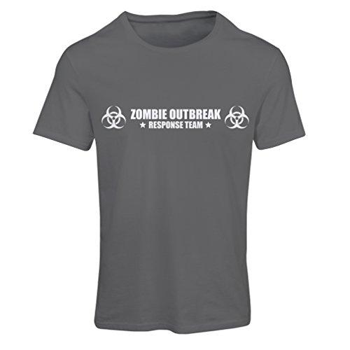 T shirts for women Zombie Outbreak Response Team (Small Graphite White)