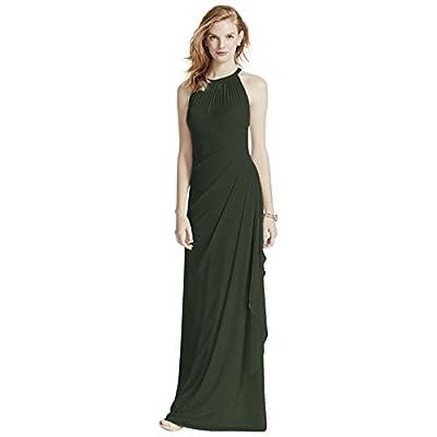 Sleeveless Long Mesh Bridesmaid Dress with Illusion Neckline Style F15662