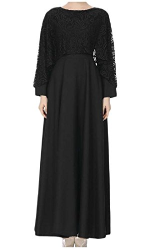 Coolred-femmes Couleur Pure Dentelle Vintage Islamic Taille Haute Noir Robe Musulman