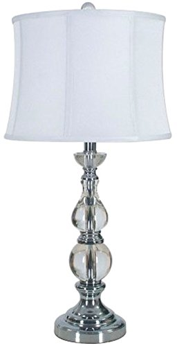 Traditional Crystal Table Lamp in Clear and Silver Finish (Silver Table Lamp With Crystals)