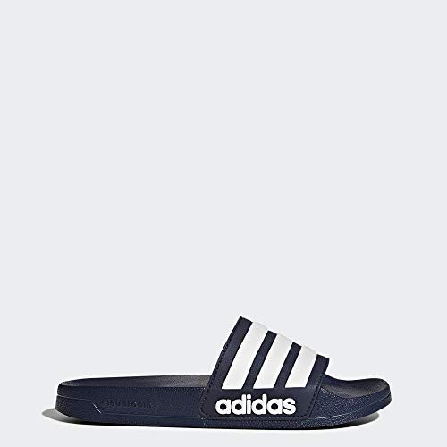 adidas Men's Adilette Shower Slide Sandal, White/Collegiate Navy, 12 M US