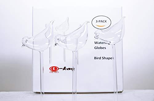 3 Pack Plant Waterer Self Watering Globes,Bird Shape Hand Blown Transparent Mini Durable Clear Glass Aqua Bulbs