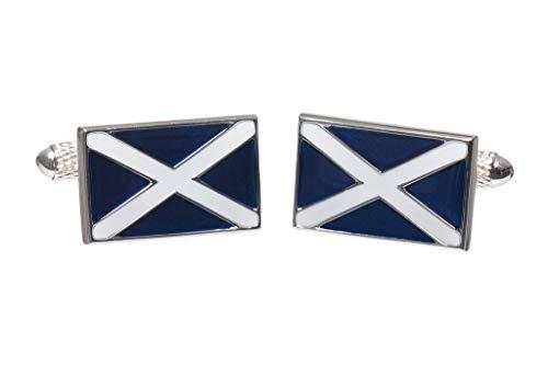- Onyx Art Men's Novelty Cufflinks - Scottish Scotland Flag Design