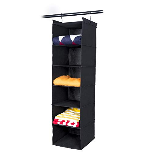 MAX Houser 6 Tier Shelf Hanging Closet Organizer, Cloth Hanging Shelf with 2 Sturdy Hooks,for Storage,Foldable (Black)