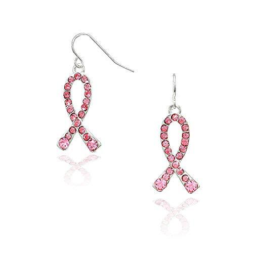 Pink Crystal Breast Cancer Ribbon Drop