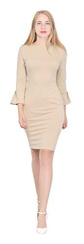Marycrafts Womens Flounce Bell Sleeve Office Work Casual Pencil Dress 10 Beige]()