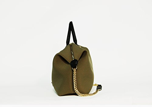 BORSA SHOPPER IN NEOPRENE TINTA UNITA CON TRACOLLA CATENA MADE IN ITALY (Verde militare - oro)