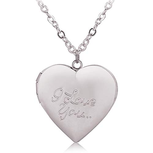 Photo Locket Necklace That Holds 2 Pictures I Love You Heart Pendant for Girls White Gold Plated ()