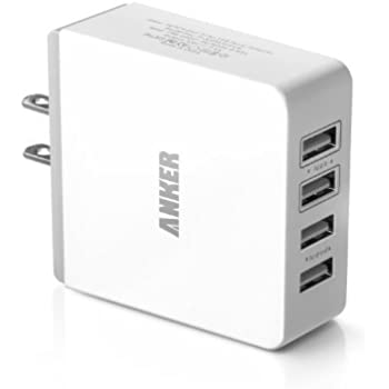 Anker 36W 4-Port USB Wall Charger Travel Adapter with PowerIQ Technology for iPhone, iPad, Samsung Galaxy, Nexus, HTC, Motorola, LG and More (White)