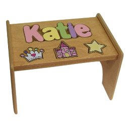 Personalized Princess Wooden Puzzle Stool- Stool Color: Natural, Letter Color: Pastel, 1-8 Letters by Ababy