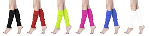 V28Women Winter 80s Eighty's Warm Leg Warmers Knitted Long Socks (one size, 6 pack(Black+Red+Fluorescein+Rose+Blue+White)) -