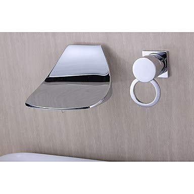 - Faucet Bathroom Sink Waterfall Wall Mount Chrome Widespread Single Handle Two Holes