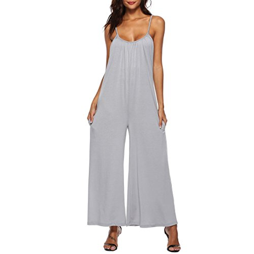 ies Loose Long Playsuits Rompers Pants Palazzo Jumpsuit Maxi Dress Wide Leg Flowy Trousers Casual (Gray, S) ()