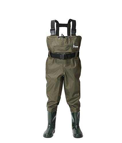 Ouzong Chest Waders for Kids, Lightweight Cleated Nylon and PVC Fishing Bootfoot Chest Waders for Boy and Girl, Army Green Waterproof Chest Waders for Children