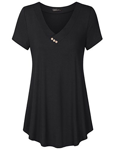 Vinmatto Women's Short Sleeve V Neck Flowy Tunic Top(XL,Solid Black)