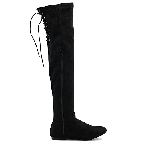 ShoBeautiful Women's Over The Knee Flat Boots Stretchy Back Lace Tie Up Low Heel Winter Thigh High Dress Boots Black 8