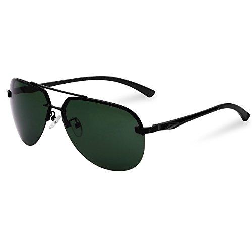gafas MPTECK el UV A143 estuche Azul sol Protección con Gafas pañuelo Verde 400 Oscuro polarizado Hombre Aviador Negro Polarizadas aviador clásico de Sol Plata y caso de CvWFTqxwnC