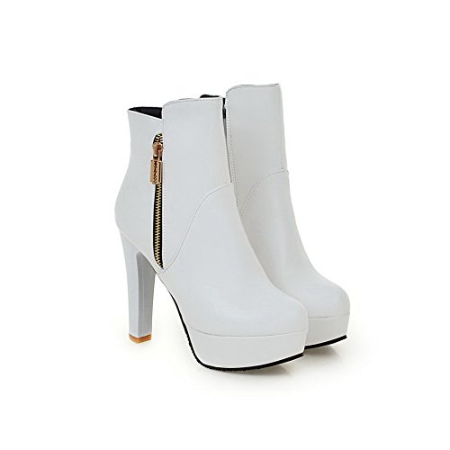 Heels Leather Imitated Platform Zipper White Chunky 1TO9 Boots Ladies ZgqTwxAEY1