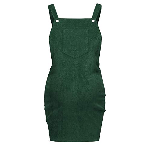 Womens Corduroy Suspender Dress Maternity Breastfeeding Loose Mini Bib Skirt Overall with Pocket (Green, ()