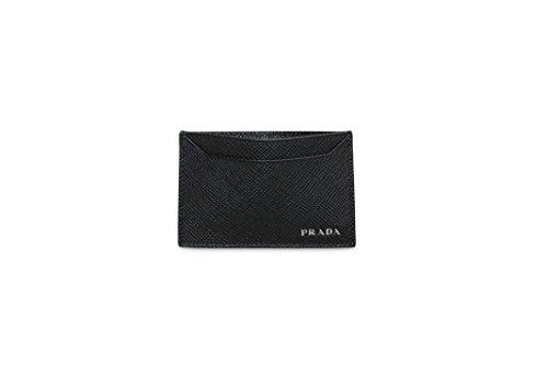 Prada Saffiano Cuir Logo Plaque Card Case, Black (Nero) 2MC208