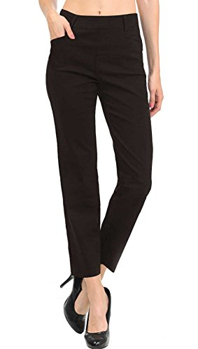 VIV Collection New Women's Straight Fit Trouser Ankle Pants (X-Large, Dark Brown)