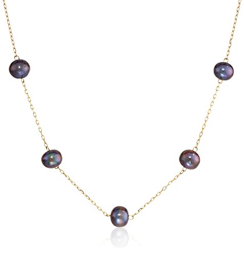 Tin Pearl Cup Cultured Necklace (14kt Yellow Gold Black Freshwater Cultured Pearl Tin Cup Necklace, 17
